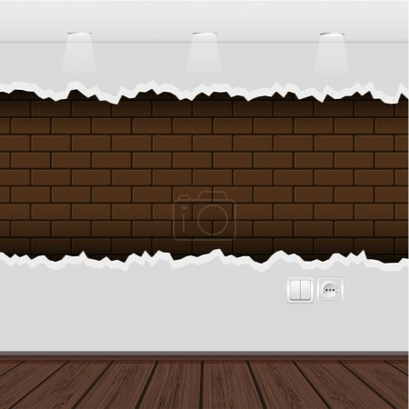 Vector interior with a ragged wall and wooden floor