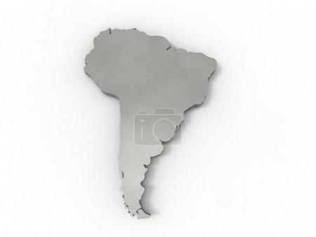 Photo pour Illustration 3D de l'Amérique du Sud représentée par un continent gris sur fond blanc - image libre de droit