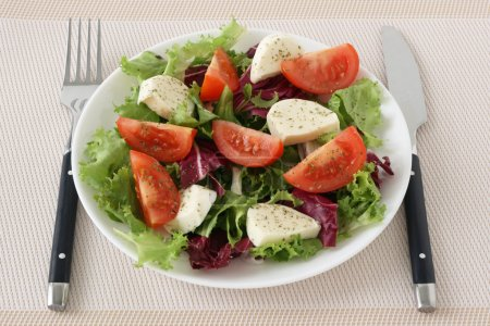 Salad with cheese mozzarella and octopus