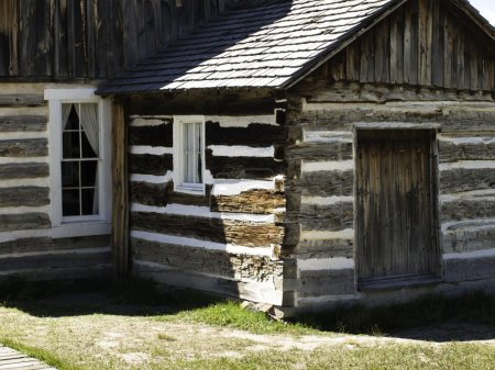 Rustic log cabin on the farm