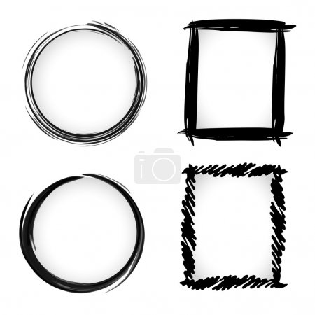 Illustration for Vector grunge ink brush Circle border sets - Royalty Free Image