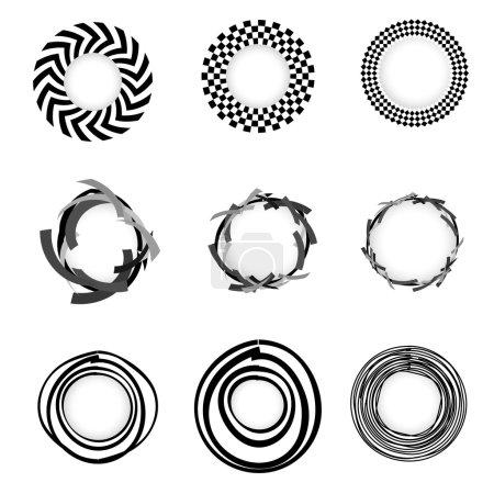 Vector grunge geometric Circle border sets