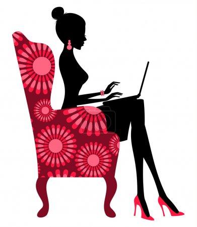 Illustration pour Jeune femme à la mode travaillant sur ordinateur portable . - image libre de droit