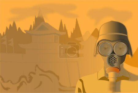Illustration for A man wearing a gasmask because of smog - Royalty Free Image