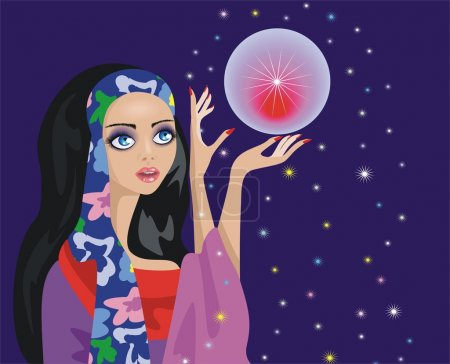 Illustration for Fortune-teller with a magic ball - Royalty Free Image