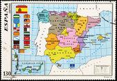 Razítko ukazuje mapa Španělska s autonomními společenstvími