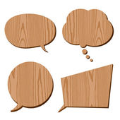 Speech bubble collection wood plank grain