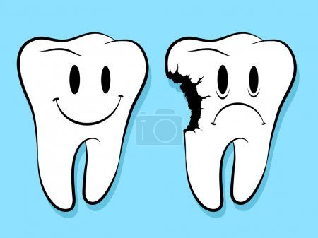 Fun Faces On Healthy And Decayed Teeth caries