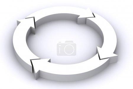 Photo pour Une 3d rendu illustration flèche blanche processus - image libre de droit