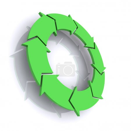 Photo for A Colourful 3d Rendered Green Process Arrows Concept Illustration - Royalty Free Image
