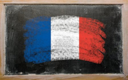 Photo for Chalky french flag painted with color chalk on old blackboard - Royalty Free Image