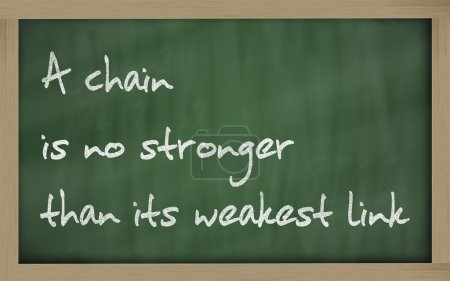 """ A chain is no stronger than its weakest link "" written on a b"