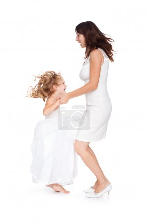 Mother and daughter having fun isolated on white background