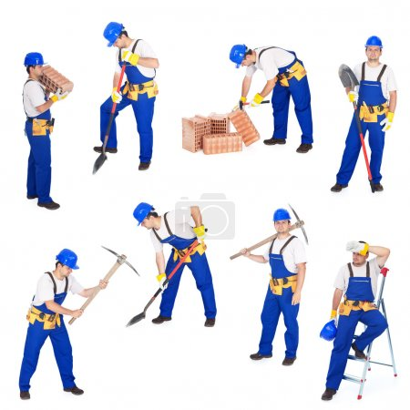 Photo for Builders or workers in various working positions collage - isolated - Royalty Free Image