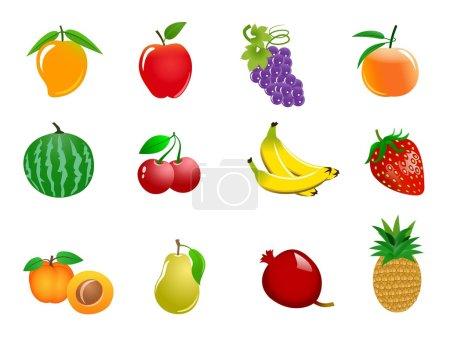 Photo pour Une illustration des icônes de différents fruits colorés - image libre de droit