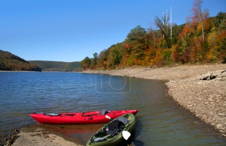 Kayaks and scenic landscape