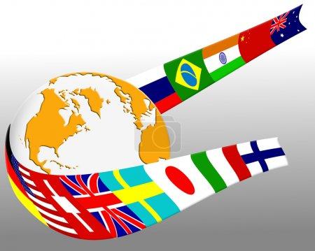 Photo pour Drapeaux de pays majeurs enroulées autour de notion de globe - image libre de droit