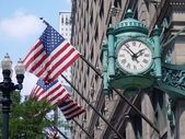 Marshall Fields clock and American Flags