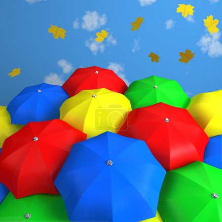 Photo for Colored umbrellas in autumn day - Royalty Free Image