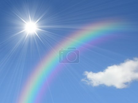 Photo for Sun and rainbow on blue sky - Royalty Free Image