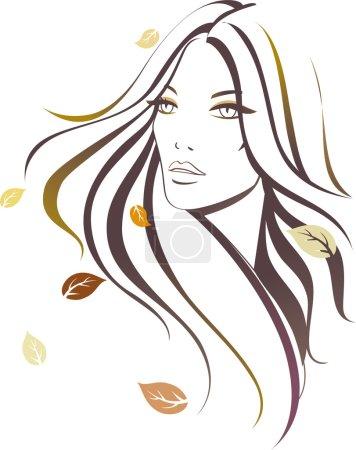 Illustration pour Fille belle avec des feuilles d'automne - image libre de droit