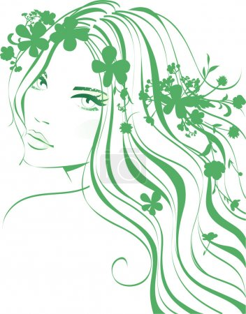 Illustration for Girl with flowers in hair - Royalty Free Image