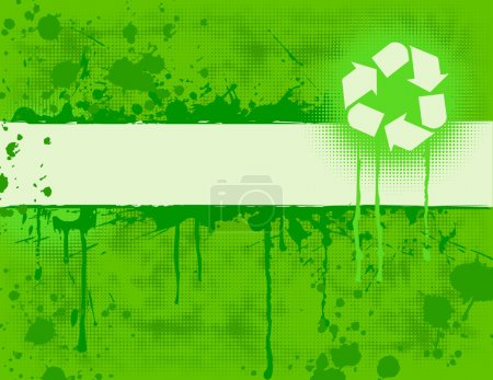 Illustration for Recycle Banner on green grungy background. - Royalty Free Image