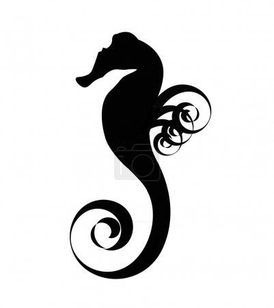 Sea horse black silhouette