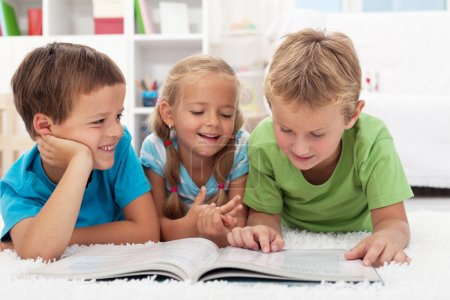 Kids having fun reading