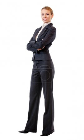 Full body portrait of business woman, isolated