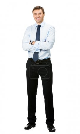 Full body portrait of happy business man, on white