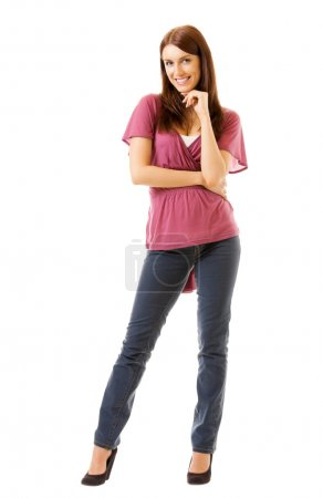 Full body portrait of young woman, isolated on white