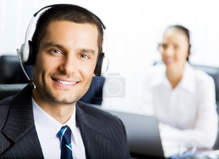 Customer support phone operator at office