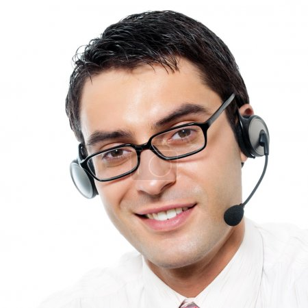 Customer support phone operator in headset, isolated
