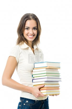 Young woman with textbooks, isolated