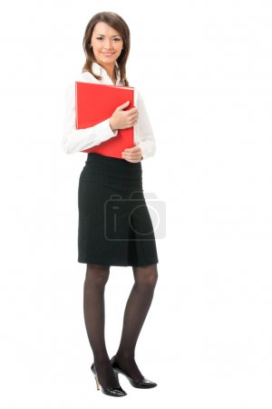 Full body of business woman with red folder, on white