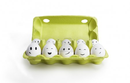Photo for Group of happy eggs with smiling faces representing a social network. Ten white eggs in a carton box. Isolated on a white background - Royalty Free Image