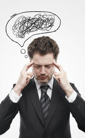 Businessman with confusing tangle of thoughts.