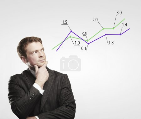 Young business man look at a graph