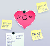 Heart made of torn paper with message for mom surrounded by sticky notes Mothers Day vector illustration eps8