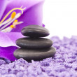 Stones with purple flower...