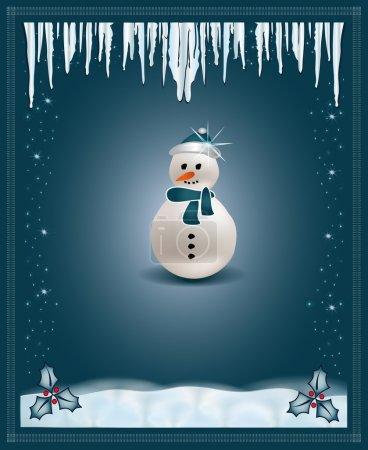 Christmas blue congratulations card snowman