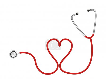 Illustration for Stethoscope in shape of heart isolated on white background - Royalty Free Image