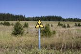 Symbol radiace na trávě