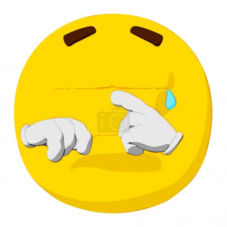 Photo for Cartoon render of a emoticon crying. - Royalty Free Image