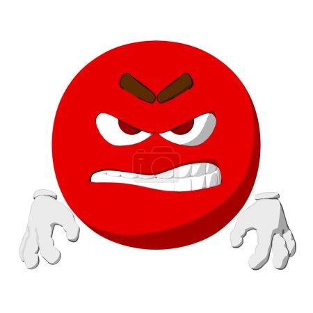 Photo pour Dessin animé restituer d'une émoticône furieux. - image libre de droit