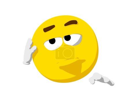 Cartoon render of a emoticon looking bored....