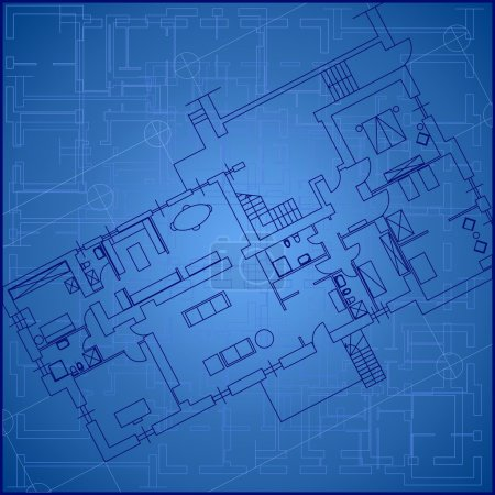 Illustration for Architectural Blueprint Background - Royalty Free Image