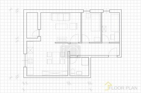 House plan blueprint vector
