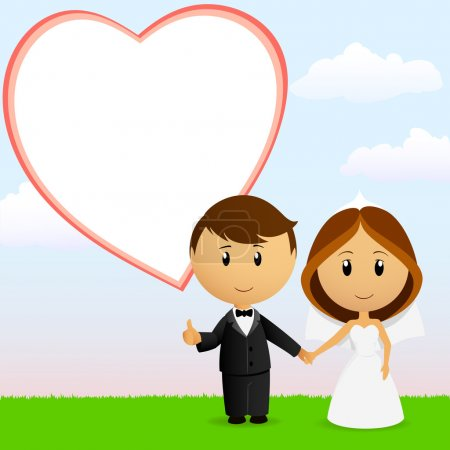 couple de mariage mignon dessin animé avec fond